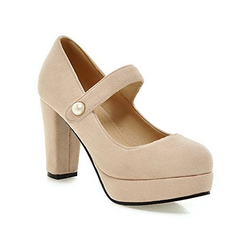 1to9 Kvinnor Spänne Plattform Höjd Formell Gummi Pumpar-shoes Beige