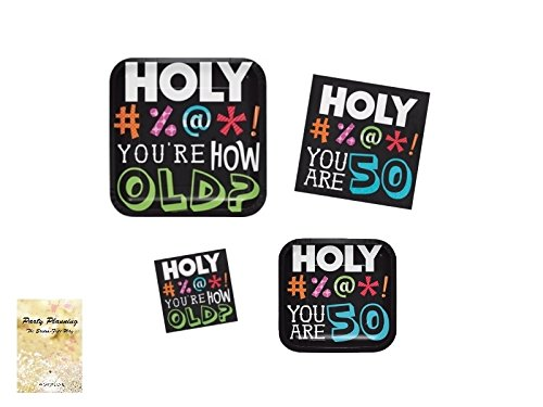50th Birthday Party Supplies, Holy Bleep You Are 50! #%@* Design, Bundle of 4 Items: Dinner Plates, Dessert Plates, Lunch Napkins and Beverage Napkins by Combined Brands