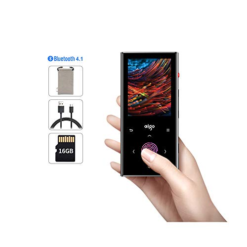 Aigo MP3 Player,16GB Bluetooth Digital Player with FM Radio,Audiobook,Built-in Speaker,Voice Recorder,HiFi Sound,Bluetooth 4.1 Audio Player,USB-C Port,Touch Screen,Pedometer,Expandable up to 128GB