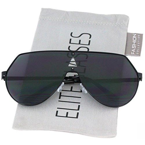 Elite Oversize Mens Womens Flat Top Aviator Retro Shield Mirrored Lens Rimless Sunglasses (Black, 5.8)