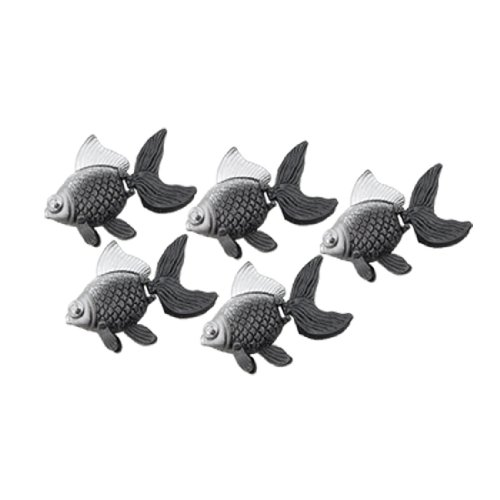5pcs Mini Gray Silver Tone Plastic Floating Fish Aquarium Decor