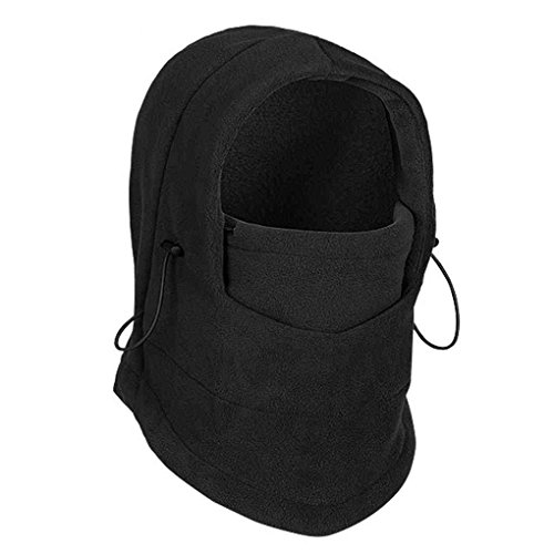- Dealtribe 6 IN 1 Winter Thermal Outdoor Fleece Neck Gaiter Balaclava Motorcycle Ski Full Face Windproof Mask Hood Hat Cap Black