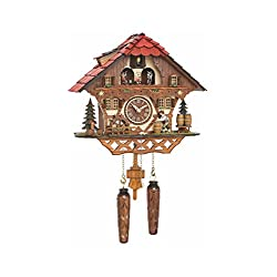 Quartz Cuckoo Clock Black Forest house with moving beer drinker and mill wheel, with music, incl. batteries TU 4208 QMT HZZG