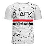 DIOMOR Mens Casual Fashion Starry Sky Graffiti Graphic T Shirt Trendy Letter Print Party Teen Active Blouse Tops White
