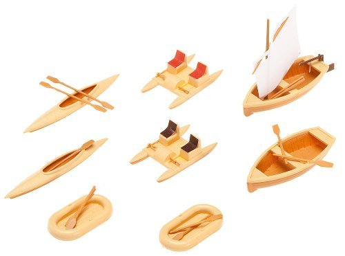 HO Scale Boats - Kit (Plastic) -- 1 Each Rowboat, Sailboat & 2 Each: Rubber Dinghies, Pedal Boats & Canoes by Faller -  9723080