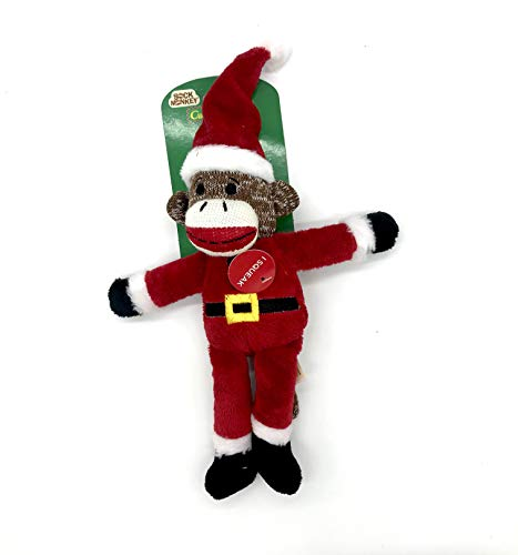 Cuddly Classics Santa Sock Monkey Pet Toy with Squeaker