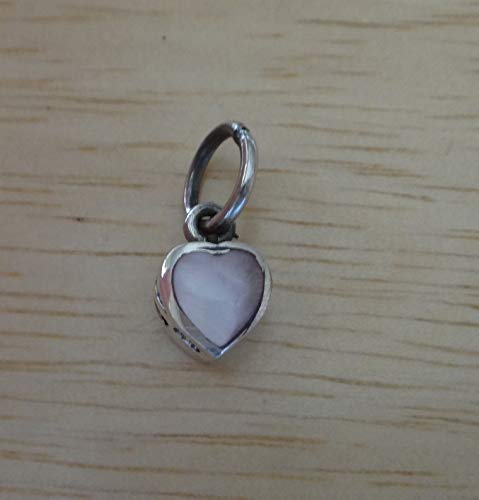 Fine Charms 1 Sterling Silver Tiny 10x6mm Reversible Pink MOP Heart