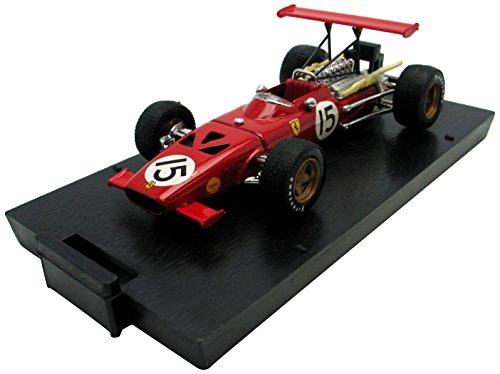 BRUMM 1/43 Scale Prefinished Fully-Detailed Diecast Model, Ferrari 312 F.1 with Rear Flying Wing, '69 Spanish Gran Prix, Shell, #15, Amon. -