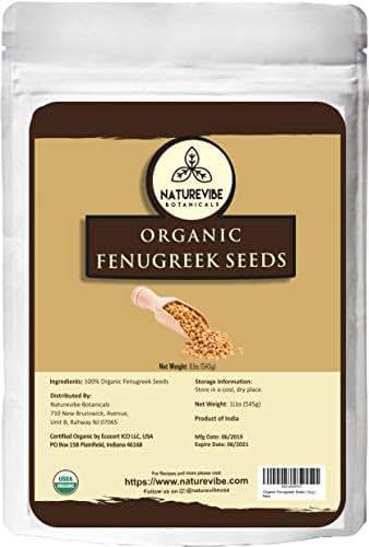 Naturevibe Botanicals Organic Fenugreek Seeds Whole 1Lb, Methi seeds | Trigonella foenum graecum | Gluten Free & Non-GMO | Improves Hair and skin health.[Packaging may Vary]