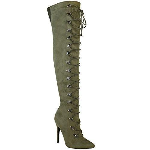 Mujer Por Encima De La Rodilla Sobre Rodilla Tacón De Aguja Botas Zapatos Con Cordones Talla VERDE CAQUI Ante Artificial