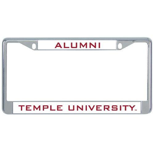 CollegeFanGear Temple Alumni Metal License Plate Frame in Chrome 'Alumni'