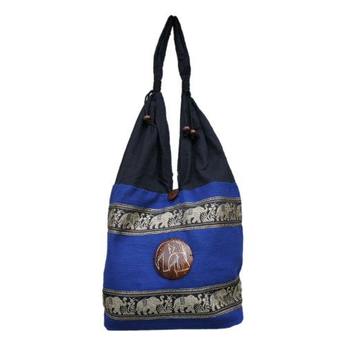 Thai Embroidered Hippie Bag Marching Elephant 100% Cotton Boho Purse Tribal Travel Bag Blue