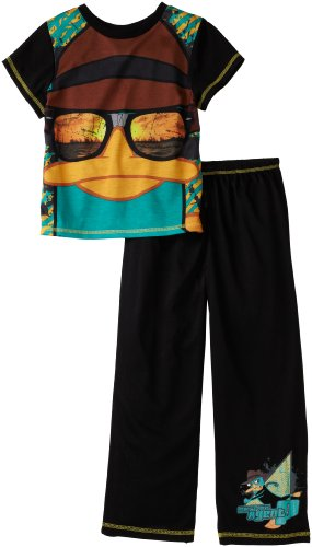 Komar Little Boys' Phineas And Ferb 2 Piece Pajama, Black, X-Small (4-5)
