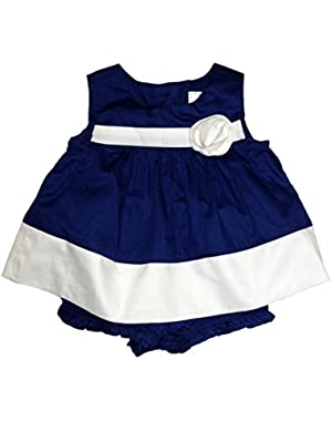 Baby Girl's Navy Blue Poplin Sleeveless Dress