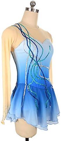 Handarbeit Eiskunstlauf Kleid f/ür M/ädchen Kinder Rollschuhkleid Wettbewerb Kost/üm Pailletten Lang/ärmelige Eislaufen Kleid Blau