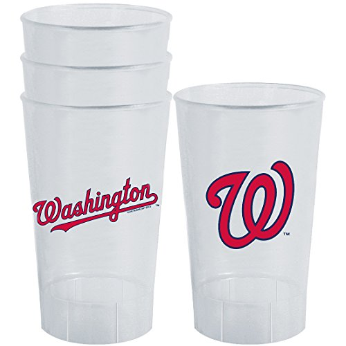 MLB Washington Nationals Plastic Tumbler (Pack of 4), 16 oz, White