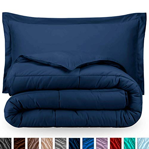 Bare Home Comforter Set - Twin/Twin Extra Long - Goose Down Alternative - Ultra-Soft - Premium 1800 Series - Hypoallergenic - All Season Breathable Warmth (Twin/Twin XL, Dark Blue)