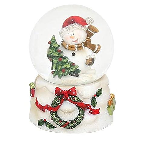Dekohelden24 Mini Boule /à Neige Blanche avec Couronne sur Le Menu d/éroulant Schneemann mit Geschenke