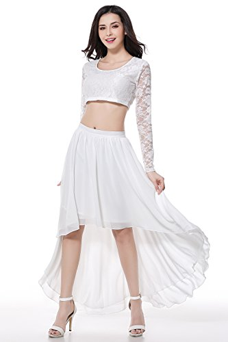 Global Vasion Floral Lace Scoop Neck Long Sleeve Crop Tops with Chiffon High Low Skirt (M, White)