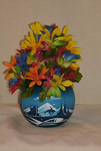 The Unique Gift Boutique-Shades of Blue Southwest Vase Spring Rose Basket Silk Cloth Floral Arrangement