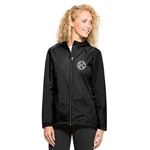NFL Pittsburgh Steelers Women's '47 React Full Zip Hooded Jacket, Medium, Jet Black
