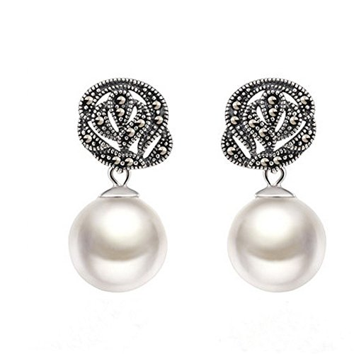 (Jade Angel 925 Silver Round 12mm White Simulated Shell Pearl Earrings Thailand Style Jewellery)
