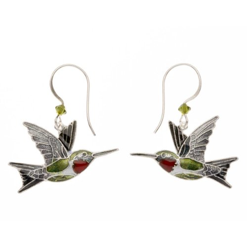 Cloisonne Ruby Throat Hummingbird Earrings