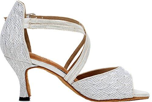 Abby Q-6210 Donna Latino Tango Cha-cha Sala Da Ballo Gattino Tacco Peep-toe Pu Dance-scarpe Argenteo