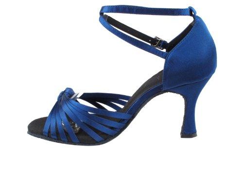 Dames Dames Ballroom Dansschoenen Heel Fijn Eksa3780 Sera 3 Hak Met Hakbeschermers Marineblauw Satijn