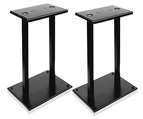 "13"" Quad Speaker Stands (Pair) - Universal Heavy Duty Steel Base Top Plates & Vertical Columns w/Adjustable Spikes Perfect for Home Surround Sound System Bookshelf & Satellite Speakers - Pyle PSTND18 by Pyle"