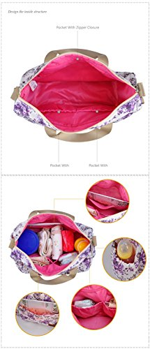 larsuyar 100% algodón 6piezas Baby–Juego de bolso bolsas de pañales para bebé, para las niñas, 42cm por 37cm por 14cm Grün Grün