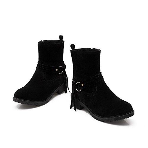 AllhqFashion Mujeres Puntera Cerrada Caña Baja Mini Tacón Sólido Gamuza(Imitado) Botas Negro