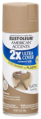Rust Oleum 280708 American Accents Ultra Cover 2X Spray Paint, Satin Nutmeg, 12-Ounce