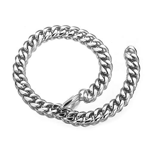 WW Lifetime Mens Stainless Steel Hip Hop Adjustable Choker Curb Cuban Link Chain Rapper Necklace