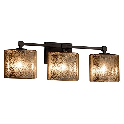 Light Bath Bar Oval Shades - Justice Design Group Lighting FSN-8423-30-MROR-DBRZ Justice Design Group - Fusion - Tetra 3-Light Bath bar - Oval - Dark Bronze Finish with Mercury Glass Shade,