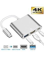 neefeaer Adaptador USB C a HDMI, Hub Tipo C USB 3.1 a HDMI 4K / USB 3.0 / USB C con Puerto de Carga rápida Convertidor Compatible con MacBook Air 2018 Galaxy Note8 / S8 + / S9