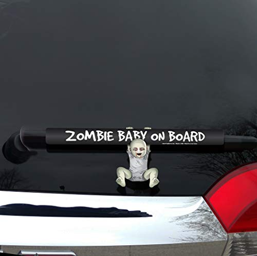 WiperTags Zombie Baby on Board Accessory Hanging on Rear Vehicle Wiper Blade]()
