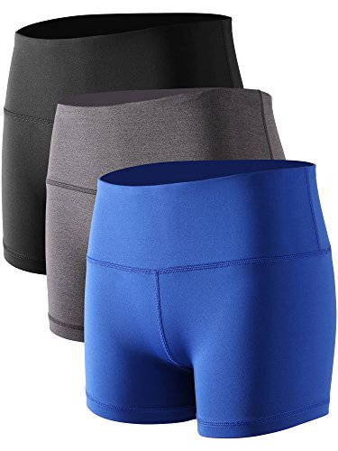 (Cadmus Women's Stretch Fitness Running Shorts with Pocket,3 Pack,05,Black,Grey,Blue,X-Small)