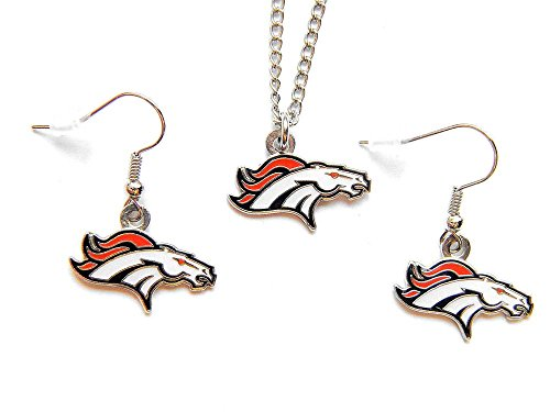 Denver Broncos Necklace and Dangle Earring Charm Set
