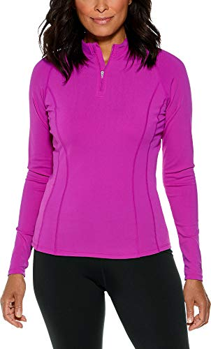 Coolibar UPF 50+ Women's Long Sleeve Freestyle Rash Guard - Sun Protective (Medium- Violet)