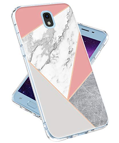 (Galaxy J7 2018 Case,Galaxy J7 Refine,Galaxy J7 V 2nd Gen,J7 Star,J7 Aero,J7 Top Case for Girls Women,lovemecase Marble Design Clear Bumper TPU Soft Case Rubber Silicone Skin Cover (Grey Pink Marble))