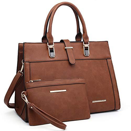 Womens Top Handle Satchel Handbags Tote Purse Padlock Shoulder Bag (01- Brown)