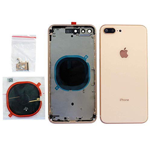 Back Housing Assembly Metal Frame w/Back Glass(Best OEM) - Wireless Charging pad - Sim Card Tray and Camera Frame and Lens for iPhone 8 Plus (Gold)