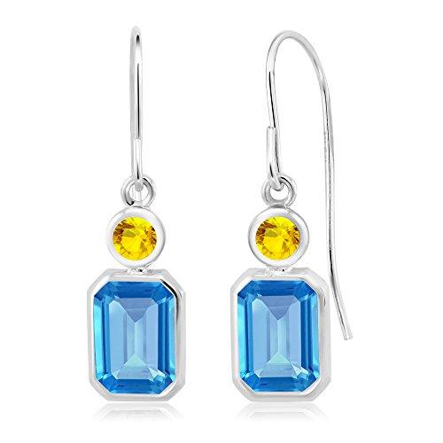 2.21 Ct Emerald Cut Swiss Blue Topaz Yellow Sapphire 925 Silver (Emerald Cut Yellow Sapphire)