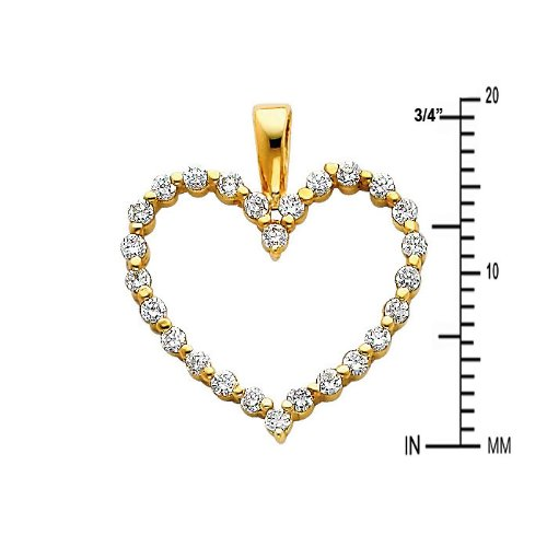 14k Yellow Gold Open Heart CZ Pendant with 0.8mm Box Link Chain Necklace