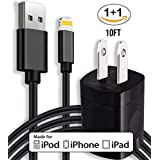 Merchandise Mafia - 10ft iPhone X Lightning Cable and 5v Wall Outlet Adapter COMBO - iPhone 5, iPhone 6, iPhone 7, iPhone 8, iPhone X All Devices Bundle Package!
