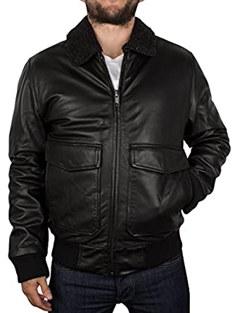 Levis Men's Leather Flight Jacket, Black: Amazon.co.uk: Clothing