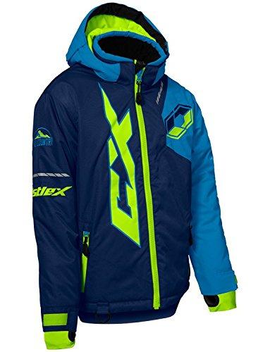 Castle X Stance Youth Snowmobile Winter Jacket - Navy/Process Blue/Hi-Vis (LRG)