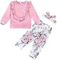 AmzBarley Newborn Baby Girl Clothes Long Sleeve Tops Floral Pants with Headband Outfit Set Autumn Winter Outer