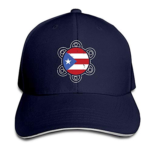 (Sol Taino Puerto Rico Flag Unisex Twill Baseball Adjustable Hat Hats Sandwich Caps)